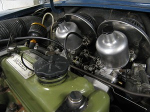 Inch and a half twin SU carburettors.